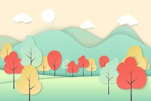 Vector nature landscape background. Cute simple cartoon style