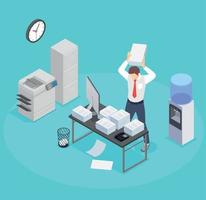 Office Worker Burnout Composition vector
