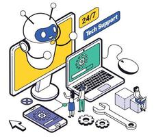 Isometric Web Hosting And Support Composition vector