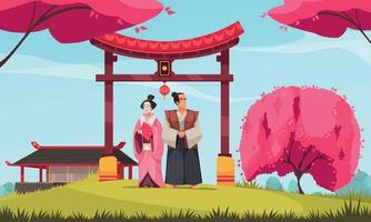 Traditional Japanese Couple Composition vector