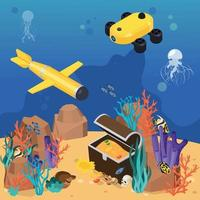Isometric Colored Underwater Vehicles Machines Equipment Composition vector