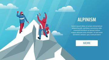 Alpinism Peak Horizontal Banner vector