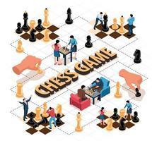 Chess Game Isometric Flowchart vector