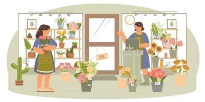 Flower Shop Flat Composition vector