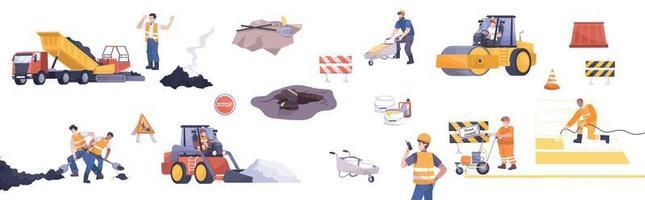 Road Repair Flat Icon Set vector
