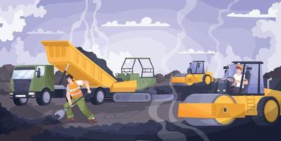 Road Paving Flat Composition vector