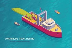 Commercial Fishing Horizontal Banner vector