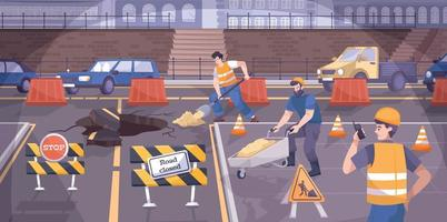 Road Construction Signs Flat Composition vector