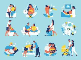Pregnant Motherhood Icon Set vector