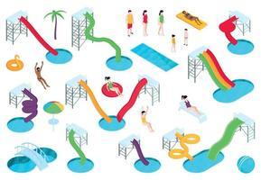 Aqua Park Isometric Composition vector