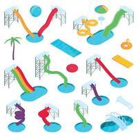 Aqua Park Isometric Set vector