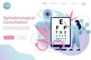 Ophthalmological Consultation Flat Website vector