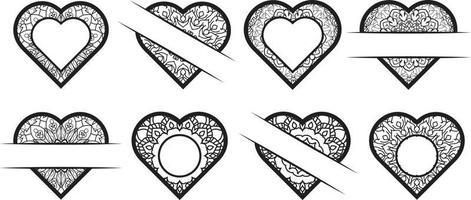 Heart monogram frame clipart collection vector