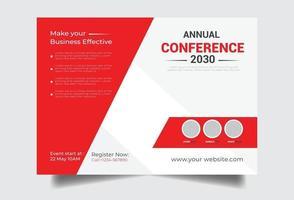 Horizontal conference flyer workshop template vector