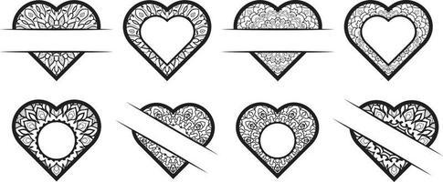 Cute Love Doodles Heart Frame Set vector