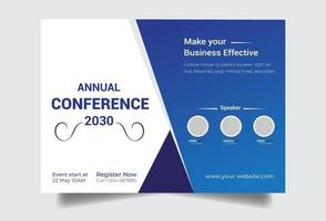 Corporate blue flyer conference template vector