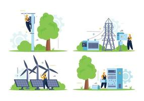 Outdoor Electricity Flat Composition vector