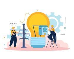 Electricity Light Bulb Composition vector