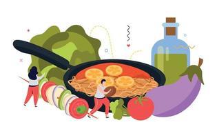 Vegan Meal Pan Composition vector