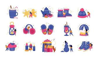 Happy Winter Flat Icons vector