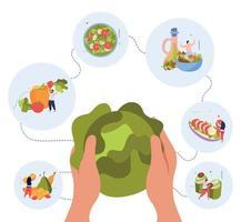 Vegan Food World Background vector