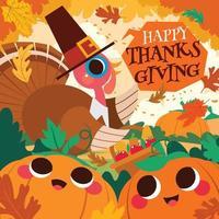 Happy Thanksgiving with Pilgrim Turkey Concept vector