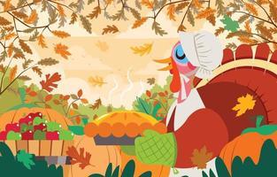 Happy Thanksgiving Background with Pilgrim Turkey Serving Pie vector