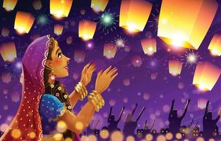 Diwali Festival of Lights with Lanterns Background vector