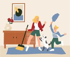 A mother, daughter and dog are cleaning while dancing happily. vector