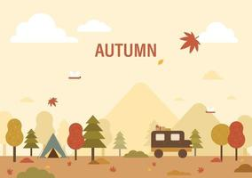 Poster of autumn nature background. vector