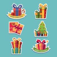 Set of Christmas Gift Sticker vector