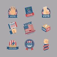 conjunto de etiqueta engomada de la elección del presidente vector