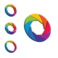 Shutter, colorful rainbow 3d aperture, wheel circle form. vector