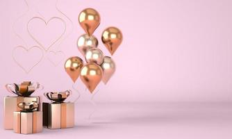 Valentine's Day. Background with realistic festive gifts box. Romantic present. Golden hearts. 3d. photo