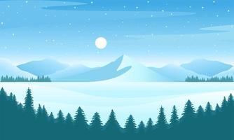 Vector winter landscape illustration. Mountain tree forest