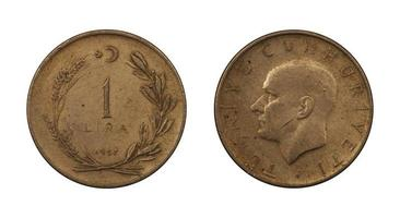 monedas de la república de turquía foto