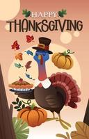 Turkey Celebrates Thanksgiving with a Pie vector