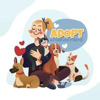 Woman with Her Adopted Pets vector