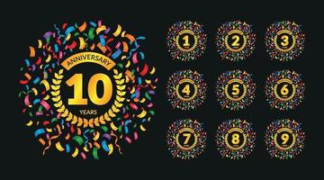 Anniversary Badges Set for Kids with Colorful Confetti vector