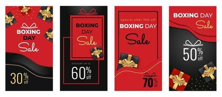 Boxing Day Sale templates set for social media stories with of black, red gift boxes, golden ribbon bow, and abstract background. vector