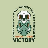 Skull And Crocodile illustration vintage design style vector