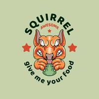 Squirrel illustration vintage design style vector