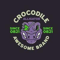 Crocodile illustration vintage design style vector