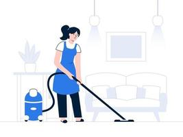Cleaning concept with woman vacuuming floor with vacuum cleaner vector