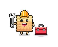 Mascot cartoon of raw instant noodle as a mechanic vector