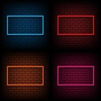 Neon sign of frame on brick wall background, vector illustration