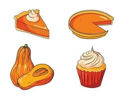 Autumn Holiday pumpkin dishes Collection vector