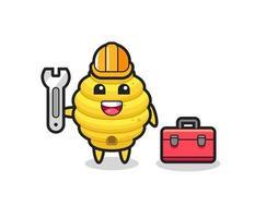 Mascot cartoon of bee hive as a mechanic vector