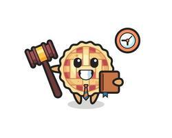 mascota, caricatura, de, tarta de manzana, como, juez vector
