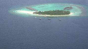 Maldives Island top view from sea plane or airplane video